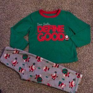 Carter's Fleece Soft Green Red Christmas Pjs